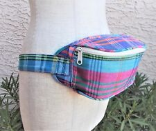 """Plaid Fanny Pack Pouch Eddie Bauer Adult Blue Green Pink Adjustable Bumbag, 38"""""""