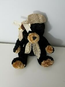 Dan Dee Collectors Choice Black Bear Rare Outfit With Scarf and Fedora Hat