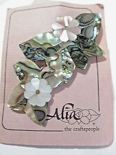 HANDCRAFTED ABALONE MOTHER OF PEARL SHELL PIN COLLAGE FROM ALIA ON ORIGINAL CARD