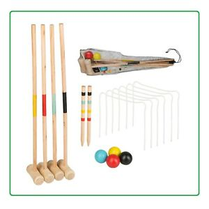 Krocket Croquet Holz Garten Spiel 4 Spieler Crocket Outdoor Spielzeug 52cm Top