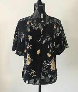 Witchery Floral Top Size 4 Short Sleeve Loose Blouse Casual Work Career Business