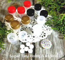 12 SUPER TINY JARS Multi Color Screw Caps Less than 1 inch  Item #2202 DecoJars