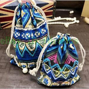 """12PCS Cotton Blue with Colorful Symmetrical design Drawstring Bag Pouches5.5""""x4"""""""