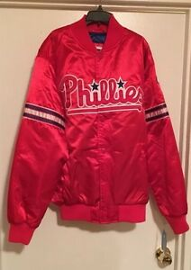 Original STARTER MLB PHILADELPHIA PHILLIES Satin Jacket Red & Blue NWT