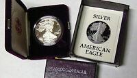 Proof 1987-S American Silver Eagle 1 oz .999 Fine Silver Dollar With Box and COA