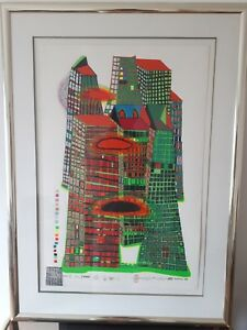 """HUNDERTWASSER FRIEDENSREICH  Original: """"Morning in the City"""" in Glas eingerahmt"""