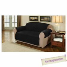 Black Quilted Faux Suede 3 Seater Sofa Armchair Furniture Protector Slipcover