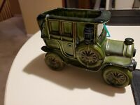 Vintage Relpo Japan #5786 Antique Car Planter Garden Vase Decor Green Brown.