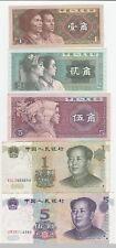 Chine lot 5 billets 1 jiao à 5 yuan 1980-2000 / China set 5 notes