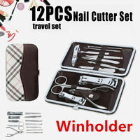 12pcs Nail Care Cutter Set Clippers Eyebrow Clip Tweezers Manicure Pedicure Kit