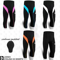 Ladies Cycling Shorts 3/4 Three Quarter Coolmax Padded Tights Legging S to XL