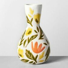 Set of 2 Opalhouse Floral Yellow & Orange Earthenware Vases - NEW