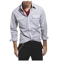 Kenneth Cole Men's Long Sleeve Sport Shirt Double Pocket Large Regular Fit New