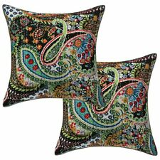 Ethnic Cotton Throw Pillow Covers Black 16 x 16 Kantha Paisley Cushion Covers