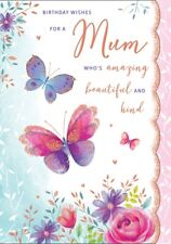 MUM BIRTHDAY CARD - LARGE QUALITY CARD - BUTTERFLY DESIGN & A LOVELY VERSE