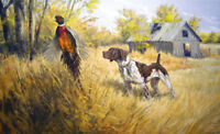 Pointer Hunting Gun Dog and Pheasant Stretched Canvas Painting Wall Art Print