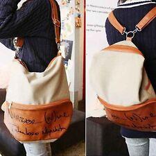 Women Backpack #V Girl Bookbag Canvas Shoulder Bag Travel Rucksack Dual Use Bag