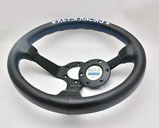 340mm Leather Deep Dish Steering Wheel Key's For MOMO Hub Racing OMP Drifting