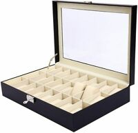 24 Slots Luxury Wrist Watch Box Leather Display Case Organizer Jewelry Storage