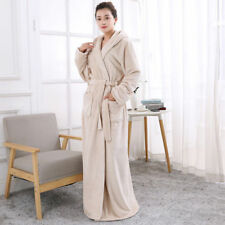 LADIES Towelling Bath ROBE SOFT COSY LONG HOODED WINTER FLEECE DRESSING GOWN New