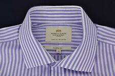"""HAWES & CURTIS Purple White Striped Shirt 16"""" / 34"""" Luxury 2 Ply 100s Cotton"""