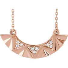 Diamante curvada barra 40,6 -45 , 7cm Collar en 14k ORO ROSA