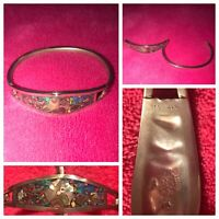 VINTAGE Jewelry Bangle Bracelet (925) Sterling Silver TURQUOISE/Abalone Colorful