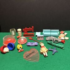 Vtg Junk Drawer Toy Lot Plastic Tv Viewer Metal Plane Car Dexterity Creepy Doll