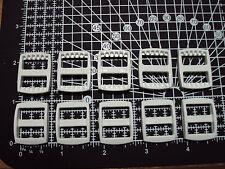"10 x White Plastic 3 Bar Slides Tri Glide Fasteners Clip Buckles 15mm ""R"""