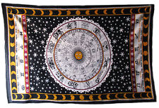 Zodiac Astrology Twin Indian Mandala Tapestry Wall Hanging Bedspread Decor Throw