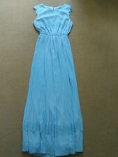SEXY DARLING LONDON PALE BLUE PLEATED LACE DETAIL MAXI DRESS SIZE S 10 VGC