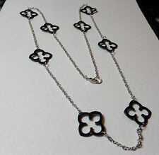 "LOVELY BLACK ENAMEL QUATRO LONG SILVER PLATED CHAIN NECKLACE 34"" 85cm tudor rose"