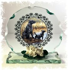 More details for black labrador dogs collectable cut glass round plaque gift  #8