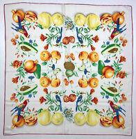 LOREDANO VINTAGE Foulard Seta Grande Grafico Frutta Quadro Fruit Silk Big Scarf