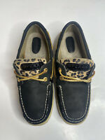 Sperry Top Sider Bluefish Black Cheetah Boat Shoe 9174715 Womens Size 6 M Tie