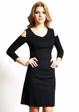 Nue by Shani Size 16 Knit Cold Shoulder Dress Black Built in Shapewear New