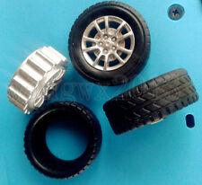 2Pcs 2mm Shaft Hole Smart Car Model Robot Plastics & Rubber Tire Wheel 30x13mm