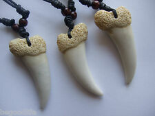 10 Faux Shark Tooth Sharks Teeth NECKLACES Pendants 60MM New Party Favors Gift