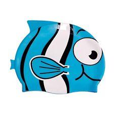 Ishka Children Kids Silicone Swim Swimming Cap Hat Bobby Blue Fin New