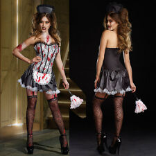 Womans Bloody Prom Queen FRENCH MAID Carrie Zombie Halloween Fancy Dress Costume