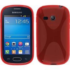 Coque en Silicone Samsung Galaxy Fame Lite - X-Style rouge + films de protection