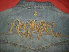 Rocawear Denim Jeans Jacket Embroidered Spellout Logo 100% Cotton Men's Size 3XL