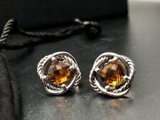 David Yurman 925 Silver 7mm Madeira Citrine Infinity Earrings Earrings