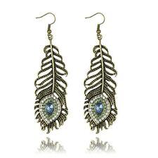 Women Vintage Bronze Peacock Feather Rhinestone Dangle  Hook Earrings