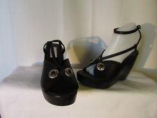 sandales  compensées SARTORE cuir noir et métal 39