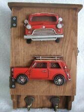 Retro Red and Green Car Design Wooden Key Wall Cupboardwith Hooks 20cm X 31cm UK