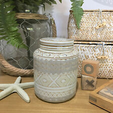 Small Beige Ceramic Decorative Round Jar/Canister/Chinese Ginger Jar/Temple Jar