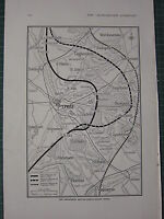 1915 WWI WW1 PRINT ~ THE SUCCESSIVE BATTLE-FRONTS ROUND YPRES MAP ATTACKS