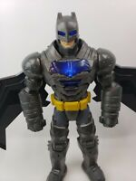 "Batman Action Figure Gray Black 12"" Lights Sounds Talking Wings Moves Metal Look"