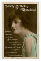 1920s British Deco LOVELY YOUNG LADY tinted photo postcard